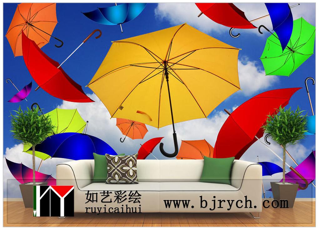 手绘墙-雨伞